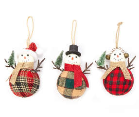 Rustic cottage collection burlap snowmen ornaments 3 pack for Snowman made out of burlap