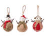 Burlap Snowmen Ornaments 3 Pack Side by Side Out of Package Silo Image