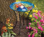 Butterfly Solar Stained Glass Birdbath environment