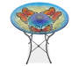 Butterfly Solar Stained Glass Birdbath silo Top Angle View