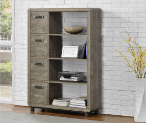 Ameriwood Rustic 4 Shelf Bookcase With Bins Big Lots