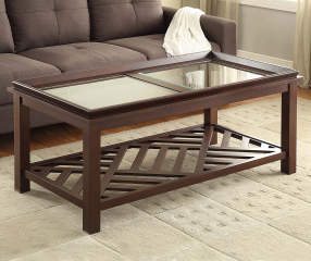 Beveled Coffee Table With Diagonal Slat Bottom Big Lots