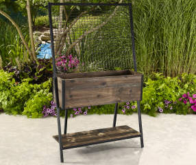 Coral Coast Raised Metal Amp Wood Trellis Planter Big Lots