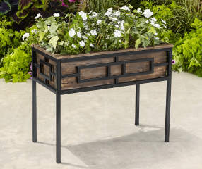 Coral Coast Raised Box Metal Amp Wood Planter Big Lots