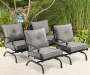 Canyon Gray Cushion Stationary Rocker Chairs, 4-Pack