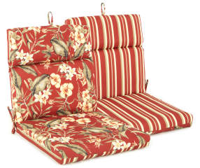 Capulet Red Floral Amp Stripe Reversible Outdoor Chair