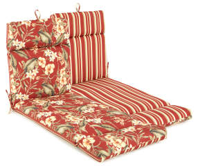 Capulet Red Floral Amp Stripe Reversible Outdoor Chaise