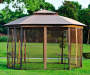 Catalina Octagon Gazebo Replacement Mosquito Netting 10 Feet by 12 feet Outdoor Setting Lifestyle Image