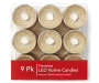 Champagne LED Votive Candles 9 Pack In Package Overhead View Silo Image
