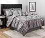 Chateau Gray Medallion 10 Piece Queen Comforter Set On Bed Room Environment Lifestyle Image