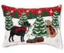 Chenille Holiday Dogs Throw Pillow 13 Inches by 18 Inches Front View Silo Image