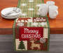 Chenille Patchwork Christmas Table Runner on Table with Plate and Cup Props Room View
