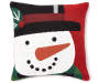 Chenille Snowman Throw Pillow 18 Inches by 18 Inches Front View Overhead View Silo Image