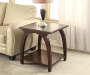 Cherry End Table with Curved Legs Decorated Room View