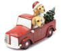 Christmas Dogs in Truck Tabletop Decor Angled Front View Silo Image