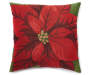 Christmas Poinsettia Tapestry Decorative Pillow 18 Inches by 18 Inches Front View Silo Image