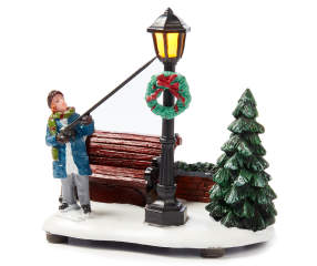 Winter Wonder Lane Christmas Village Lamp Post Scene With