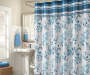 Claire Blue Faux Silk Shower Curtain on Curtain Rod Room View