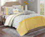 Clara Yellow and Gray 5 Piece Queen Quilt Set on Bed Room View