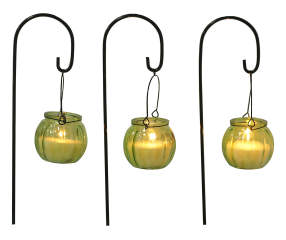 Clear Glass Citronella Candles With Metal Stakes 3 Pack