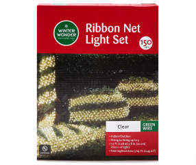 Winter Wonder Lane Clear Ribbon Net Lights On Green Wire