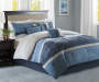 Collins Blue and Gray Suede 7-Piece King Comforter Set Room Setting