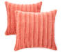 Coral Faux Fur Throw Pillows 2 Pack silo front