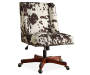Cow Print Square Back Office Chair with Nailhead Trim silo angled