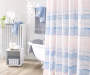 Danny Blue and Pink Stripes Fabric Shower Curtain and Hooks Set lifestyle bathroom