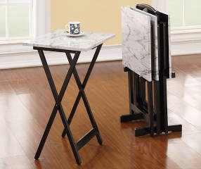 Davis White Faux Marble Tray Tables With Stand 5 Piece
