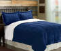 Deep Blue Sherpa 3-Piece Queen King Comforter Set Bedroom Setting