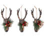 Deer Heads wtih Greenery Christmas Ornaments 3 Pack Side by Side Overhead Out of Package Silo Image