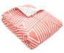 Delia Coral and White Crosshatch Stripes Queen 8 Piece Reversible Comforter Set silo front comforter