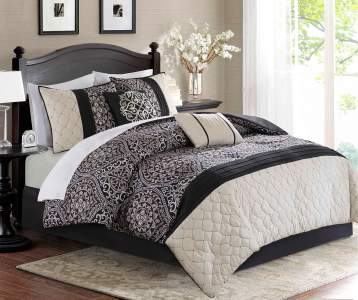 Aprima Dilan Black Ivory 10 Piece King Comforter Set