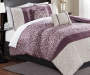 Dilan Purple and White 10 Piece Queen Comforter Set lifestyle bedroom setting