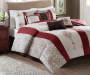 Donavan Red Brown and White 8 Piece King Comforter Set bedroom setting