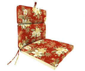Emily Red Floral Amp Stripe Reversible Outdoor Chair Cushion