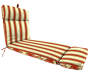 EMILY RED FLORAL/STRIPE CHAISE CUSHION