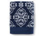 Elena Blue and White Medallion Bath Towel Folded Overhead View Silo Image