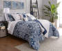 Elena Navy and Gray Comforter and Quilt 10 Piece King Queen Set On Bed Angled View Blue Comforter Up Lifestyle Image
