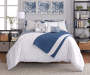Elena Navy and Gray Comforter and Quilt 10 Piece King Queen Set On Bed Front View White Comforter Up Lifestyle Image