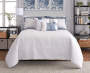 Elena Navy and Gray Comforter and Quilt 10 Piece King Queen Set On Bed Front View White Quilt Up Lifestyle Image