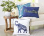 Elephant Throw Pillow 18 inches x 18 inches  lifestyle