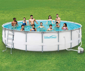 Summer waves quick set pool 16 39 x 42 big lots for Stand up pool