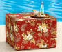 Emily Red Floral and Stripe Outdoor Ottoman Pouf lifestyle