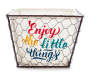 Enjoy the Little Things Small Chicken Wire Bin with Liner Front Silo