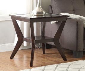 Espresso Beveled Glass End Table Big Lots