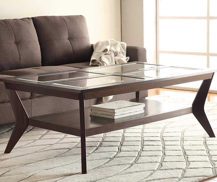 Espresso Beveled Glass Coffee Table Amp End Table Collection