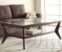 Espresso Beveled Glass Coffee Table Decorated Room View
