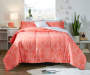 Etty Coral 8 Piece Full Reversible Comforter Set Coral Side Up On Bed Lifestyle Image